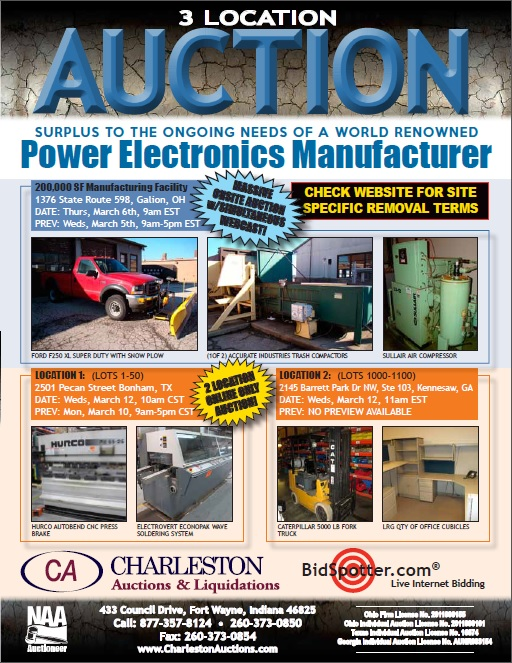 Galion OH Complete 200000 SF Manufacturing Facility Massive Onsite Auction With Simultaneous Webcast